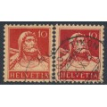 SWITZERLAND - 1914 10c red on yellow-orange William Tell, types I & II, used – Michel # 118I+118II