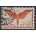 SWITZERLAND - 1924 75c orange/brown Airmail on smooth paper, used – Michel # 190x