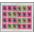 SWITZERLAND - 1953 Pro Juventute Insects tête-bêche sheetlet of 24, used – Michel # MHB42