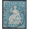 SWITZERLAND - 1855 10Rp blue Helvetia (red thread, late Bern printing), used – Zumstein # 23Cc