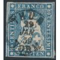 SWITZERLAND - 1859 10Rp blue Helvetia (green thread, late Bern), 'spur on C', used – Zumstein # 23G.2.03