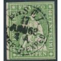 SWITZERLAND - 1855 40Rp green Sitting Helvetia (green thread, late Bern), used – Zumstein # 26G