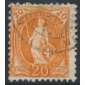 SWITZERLAND - 1905 20c orange Standing Helvetia, 'colourless dot on 2', used – Zumstein # 86A.2.53/II