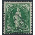 SWITZERLAND - 1894 25c green Standing Helvetia, 'green blob in left margin', used – Zumstein # 67D.2.25/IB