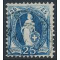 SWITZERLAND - 1899 25c blue Standing Helvetia, 'white Helvetia', used – Zumstein # 73D.2.53/IB