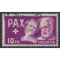 SWITZERLAND - 1945 10Fr deep purple Peace issue, used – Michel # 459