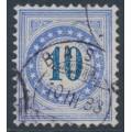 SWITZERLAND - 1882 10c blue Postage Due, granite paper, normal frame, used – Zumstein # P10N