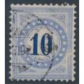 SWITZERLAND - 1882 10c blue Postage Due, granite paper, inverted frame, used – Zumstein # P10K