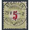 SWITZERLAND - 1884 5c red/pale green Postage Due, inverted frame, used – Zumstein # P17BK