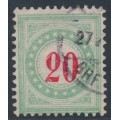 SWITZERLAND - 1883 20c red/opal-green Postage Due, inverted frame, used – Zumstein # P19AK