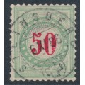 SWITZERLAND - 1883 50c red/opal-green Postage Due, inverted frame, used – Zumstein # P20AK