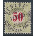 SWITZERLAND - 1884 50c red/pale green Postage Due, normal frame, used – Zumstein # P20BN