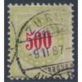 SWITZERLAND - 1884 500c red/pale green Postage Due, normal frame, used – Zumstein # P22BN