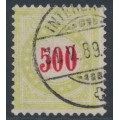 SWITZERLAND - 1887 500c red/yellow-green Postage Due, inverted frame, used – Zumstein # P22CK