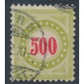SWITZERLAND - 1889 500c red/yellowish green Postage Due, normal frame, used – Zumstein # P22DN