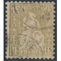 SWITZERLAND - 1881 1Fr gold Sitting Helvetia on granite paper, used – Zumstein # 52