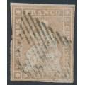 SWITZERLAND - 1855 5Rp dull grey-brown Helvetia (yellow thread, early Bern), used – Zumstein # 22C