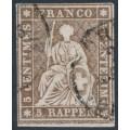 SWITZERLAND - 1857 5Rp brown Helvetia (green thread, late Bern), used – Zumstein # 22G