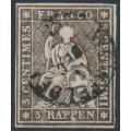 SWITZERLAND - 1857 5Rp black-brown Helvetia (green thread, late Bern), used – Zumstein # 22Gd