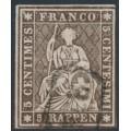 SWITZERLAND - 1857 5Rp deep grey-brown Helvetia (green thread, late Bern), used – Zumstein # 22Gc