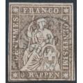 SWITZERLAND - 1857 5Rp grey-brown Helvetia (green thread, late Bern), used – Zumstein # 22Gb