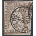 SWITZERLAND - 1857 5Rp pale brown Helvetia (green thread, late Bern), used – Zumstein # 22G