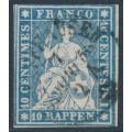 SWITZERLAND - 1858 10Rp blue Helvetia (red thread, late Bern), used – Zumstein # 23Cd