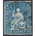 SWITZERLAND - 1859 10Rp deep blue Helvetia (green thread, late Bern), used – Zumstein # 23Gc