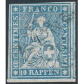 SWITZERLAND - 1859 10Rp pale blue Helvetia (green thread, late Bern), used – Zumstein # 23Gb