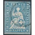 SWITZERLAND - 1859 10Rp greenish blue Helvetia (green thread, late Bern), used – Zumstein # 23Gd