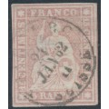 SWITZERLAND - 1860 15Rp dull rose Helvetia (green thread, late Bern), used – Zumstein # 24Gc