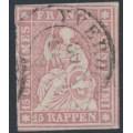 SWITZERLAND - 1860 15Rp rose Helvetia (green thread, late Bern), used – Zumstein # 24Gb