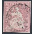 SWITZERLAND - 1860 15Rp deep rose Helvetia (green thread, late Bern), used – Zumstein # 24Ga