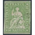 SWITZERLAND - 1860 40Rp yellowish green Helvetia (green thread, late Bern), used – Zumstein # 26Ga