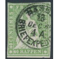SWITZERLAND - 1860 40Rp green Helvetia (green thread, late Bern), used – Zumstein # 26Gb