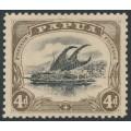 PAPUA / BNG - 1907 4d black/sepia Lakatoi small PAPUA, upright watermark, perf. 11, MH – SG # 52