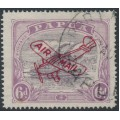 PAPUA / BNG - 1930 6d dull purple/pale purple Lakatoi overprinted AIRMAIL and Plane, used – SG # 116