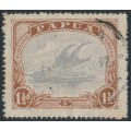PAPUA / BNG - 1925 1½d pale grey-blue/brown Lakatoi, p.14, crown to right of A watermark, used – SG # 95aw
