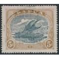 PAPUA / BNG - 1931 5d bluish slate/pale brown Lakatoi, perf. 14, sideways crown A watermark, used – SG # 100