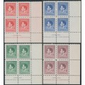 NEW GUINEA - 1937 2d to 1/- KGVI Coronation set of 4 in Ash imprint blocks of 4, MNH – SG # 208-211