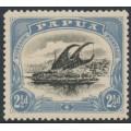 PAPUA / BNG - 1910 2½d black/blue Lakatoi, small PAPUA, perf. 12½, sideways wmk, MH – SG # 69