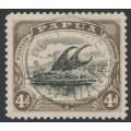 PAPUA / BNG - 1910 4d black/sepia Lakatoi, small PAPUA, perf. 11, sideways wmk, used – SG # 63
