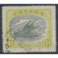 PAPUA / BNG - 1919 ½d myrtle/green Lakatoi, perf. 14, crown to the right of A watermark, used – SG # 93aw