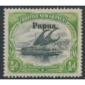 PAPUA / BNG - 1906 ½d black/yellow-green Lakatoi, vertical rosettes, o/p large Papua, MH – SG # 21