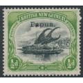 PAPUA / BNG - 1907 ½d black/yellow-green Lakatoi, vertical rosettes, o/p small Papua, MH – SG # 38