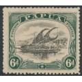 PAPUA / BNG - 1910 6d black/myrtle green Lakatoi, large PAPUA, perf. 12½, MH – SG # 80