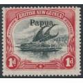 PAPUA / BNG - 1906 1d black/carmine Lakatoi, vertical rosettes, o/p large Papua, MH – SG # 22