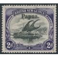 PAPUA / BNG - 1906 2d black/violet Lakatoi, vertical rosettes, o/p large Papua, MH – SG # 23
