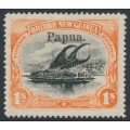 PAPUA / BNG - 1906 1/- black/orange Lakatoi, horizontal rosettes, o/p large Papua, MH – SG # 19