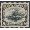 PAPUA / BNG - 1901 4d black/sepia Lakatoi, vertical rosettes watermark, line perf., MH – SG # 13